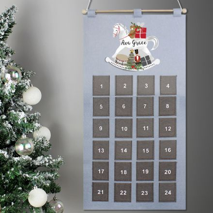 Personalised Rocking Horse Grey Felt Advent Calendar